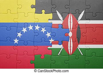 rompecabezas, con, el, bandera nacional, de, kenia, y, venezuela.