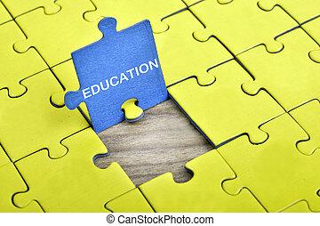 rompecabezas, con, palabra, educación