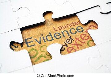 rompecabezas, concepto, evidencia