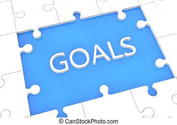 rompecabezas, concepto, metas