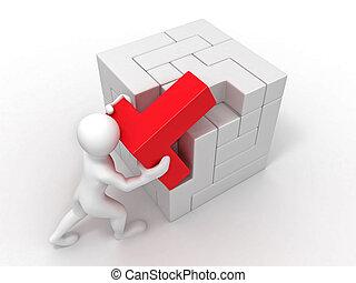 rompecabezas, cubo, construido, hombres, blocks.