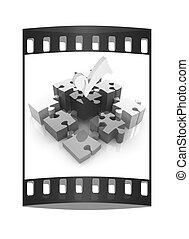 rompecabezas, de, el, cuatro, elements., imagen conceptual, -, un, paleta, cmyk., el, filme