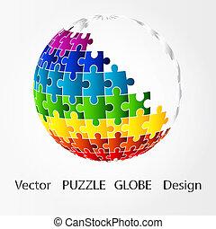 rompecabezas, diseño, globo, 3d