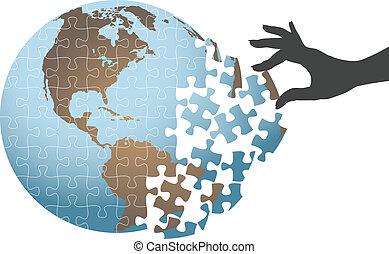 rompecabezas, global, solución, mano, persona, hallazgo