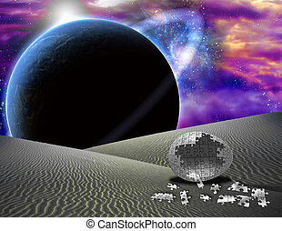 rompecabezas, huevo, en, extranjero, planeta