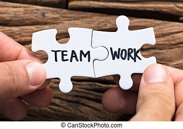 rompecabezas, manos, trabajo, pedazos, de conexión, equipo