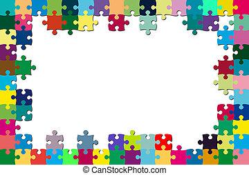 rompecabezas, marco, multicolor