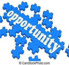rompecabezas, oportunidad, chances, exposiciones, carrera