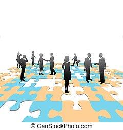 rompecabezas, pedazos, empresarios, equipo, solución