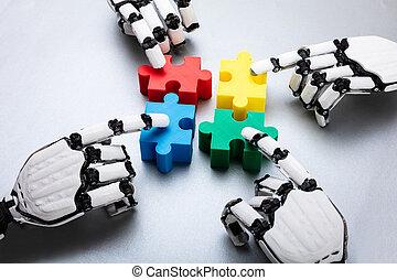 rompecabezas, pedazos jigsaw, conmovedor, robot