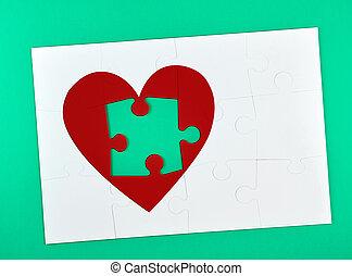 rompecabezas, perdido, grande, uno, forma corazón, blanco, elemento, rojo