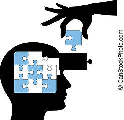 rompecabezas, persona, aprender, mente, solución, educación
