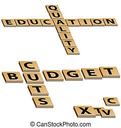 rompecabezas, presupuesto, crucigrama, cortes, educación, calidad