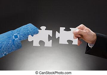 rompecabezas, rompecabezas, businesspeople, pedazos, dos, tenencia