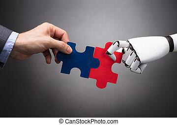 rompecabezas, rompecabezas, businessperson, robot, tenencia