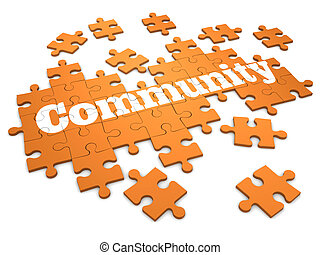rompecabezas, rompecabezas, comunidad, 3d