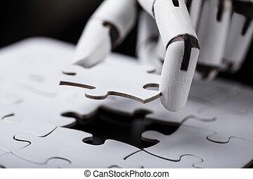 rompecabezas, rompecabezas, robot, tenencia