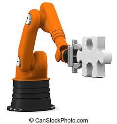 rompecabezas, rompecabezas, robot, tenencia, pedazo