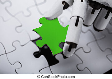 rompecabezas, rompecabezas, verde, robot, tenencia