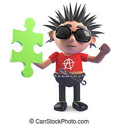 rompecabezas, tiene, punk, rompecabezas, carácter, hardcore, 3d, ilustración, fundar, pedazo