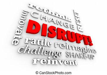 rompere, cambiamento, innovare, parole, collage, 3d,...
