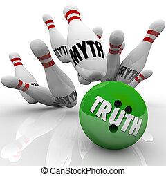 rompere, mito, vs, untruth, verità, bowling, fatti, ...