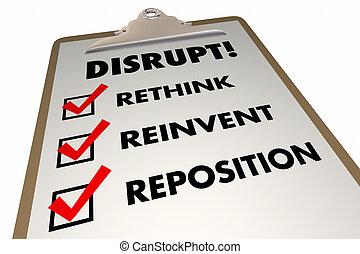 rompere, rethink, reinvent, lista, parole, 3d, illustrazione