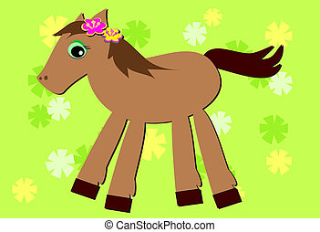 Romping Pony and Flower Background