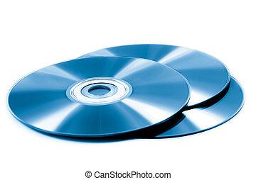 &, roms., dvd, cd, hintergrund, weißes, scheibe, stapel
