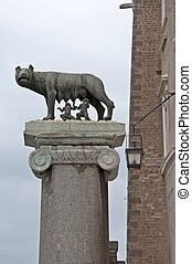 Romulus and Remus - Statue with wolf, Romulus and Remus in...