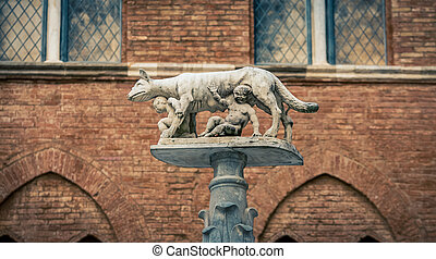 romulus and remus statue - The symbol of Rome in Siena Italy