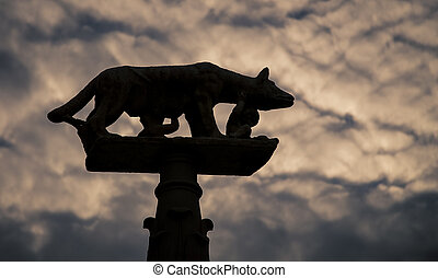 Romulus and Remus symbol - A silhouette of the symbol of...