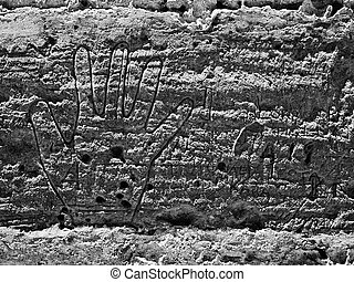 Ancient graffiti found on the bastion walls at the Citadel in Gozo