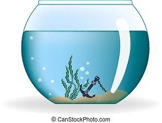 rond, aquarium, à, eau, et, décorations