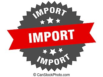 rond, bande, autocollant, label., importation, signe., circulaire