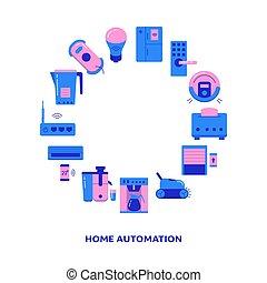 rond, bannière, maison, texte, endroit, automation, cadre