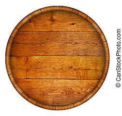 rond, barrel., bois