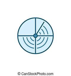 rond, bleu marine, sonar, icône, concept, vecteur