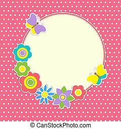 rond, cadre, à, fleurs colorées, et, papillons