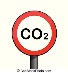 rond, co2, pollution, ambiant, signe, avertissement