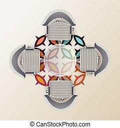 rond, conférence, room., vue, chaises, moitié, quatre, sommet, table, pattern., arabe, moquette, verre