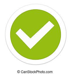 rond, créatif, vert, conception, tique, chèque