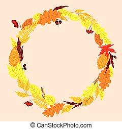 rond, feuilles, cadre, automne