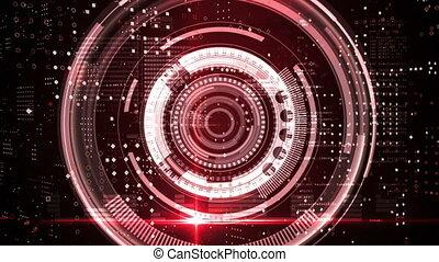 rond, fond, noir, données, contre, scanner, traitement