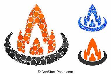 rond, icône, emplacement, brûler, mosaïque, points