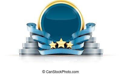 rond, logo, à, étoiles, et, cinéma, films