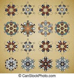 rond, mandala, set., vecteur, cercle, pattern., décoratif, tattoo.