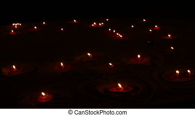 rond, obseque, brûlé, sable, bougies, rouges, catholique,...