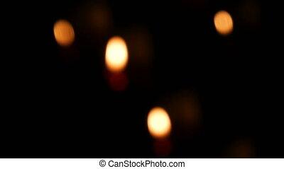 rond, obseque, brûlé, sable, bougies, rouges, catholique, ...