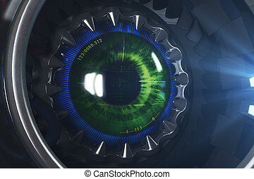rond, oeil, cyber